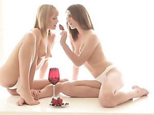 Strawberries love wine and two pornstars